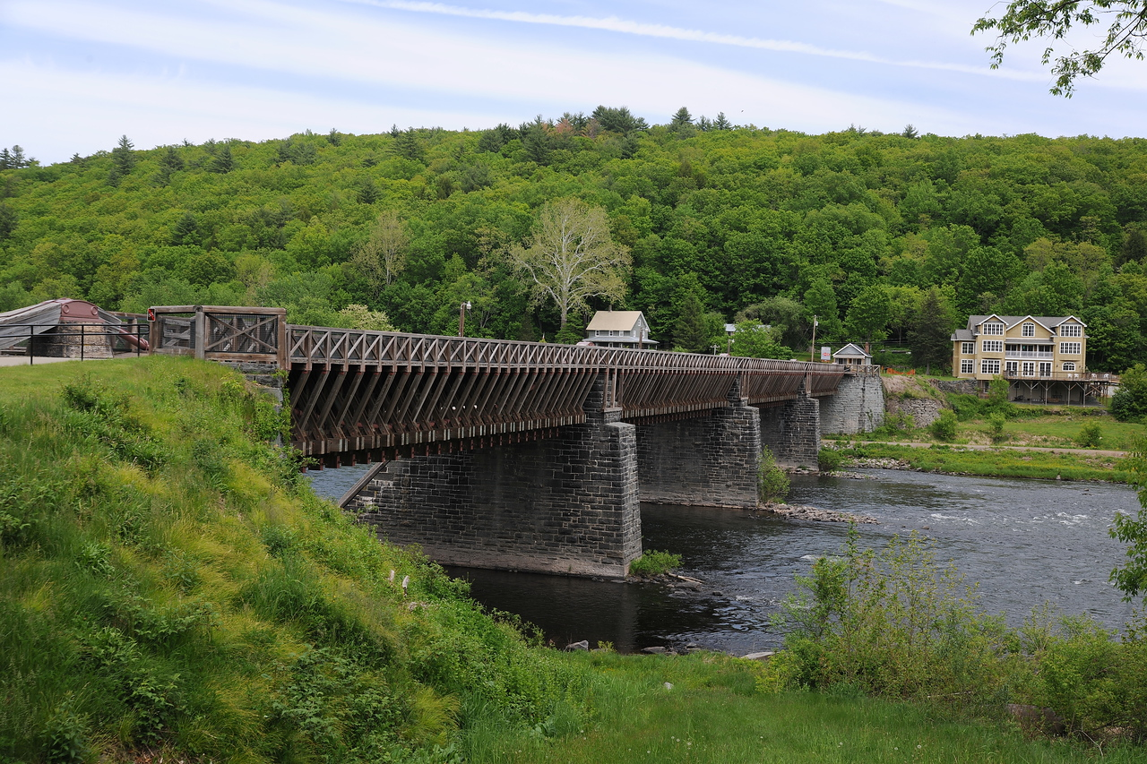 Roebling's Delaware River aqueduct in Lackawaxen, PA, which was used to carry canal boats over the river and link the PA and NY segments of the Delaware & Hudson canal. John Roebling also designed the Brooklyn Bridge.