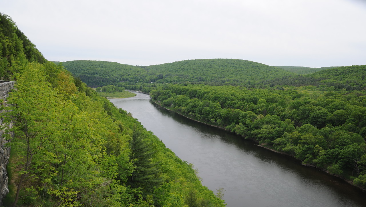 Looking southeast down the Delaware River from Hawks Nest, NY.