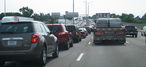Rush hour, Ottawa, Ontario, Canada. 36 degrees C (95 F) the first week in July, 2012.