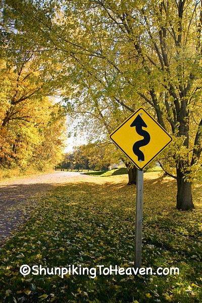 """""""Squiggly Road"""" Sign, Sauk County, Wisconsin"""