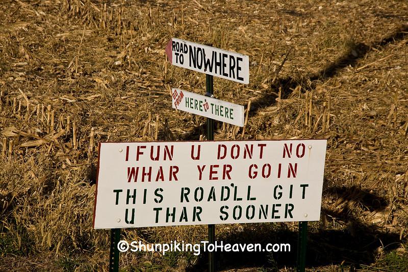 Humorous Roadside Sign, Mitchell County, Iowa