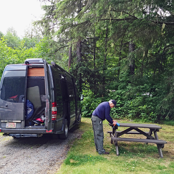 Camping at the Bear River in Stewart BC