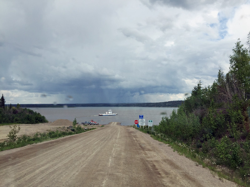 The Heritage Route crosses the Mackenzie River north of Fort Simpson