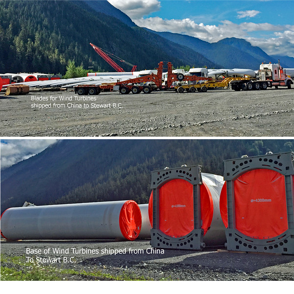 Parts for Wind Turbines unloaded in Stewart BC for shipment into the interior