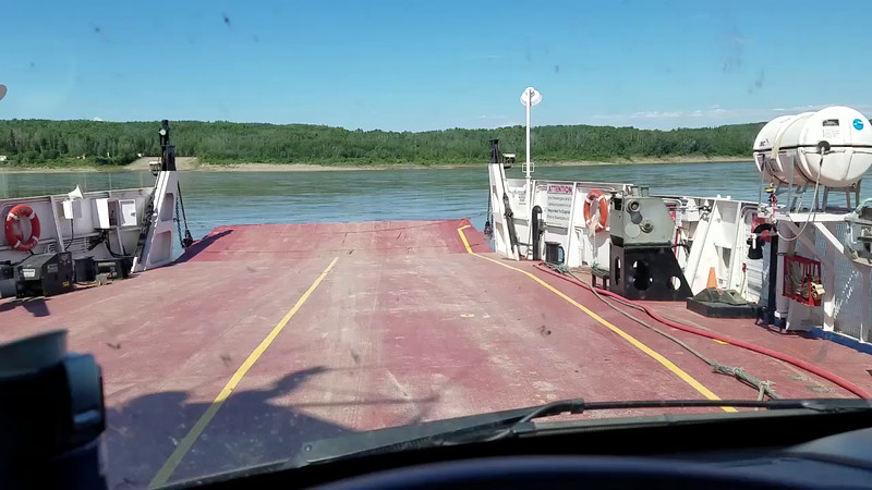 Starting across the Laird River on Ferry