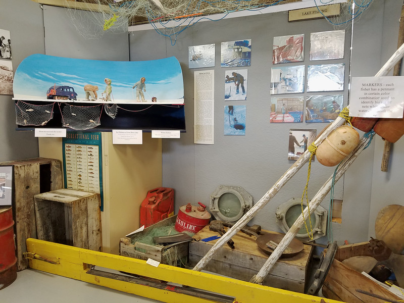 Ice fishing display - a necessity on the Great Slave Lake