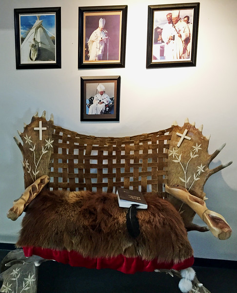 A gift of a chair for the Pope by the local Dene