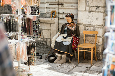 Souvenir lady in Trogir, Croatia