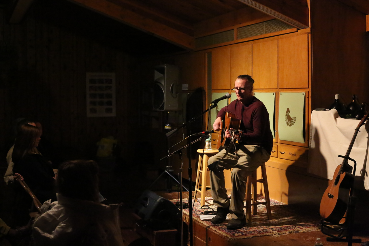 Bob Gotta plays at Roaring Brook Nature Center. <br /> Photo by John Fitts