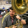 Leominster High School Band Director Robert Bergeron will be playing the sousaphone in the 2021 Rose Parade, hosted by the Pasadena Tournament of Roses, which is an annual parade to mark the start of the Rose Bowl Game, held mostly along Colorado Boulevard in Pasadena, California, on New Year's Day. He posed with a sousaphone that they had at the school. SENTINEL & ENTERPRISE/JOHN LOVE
