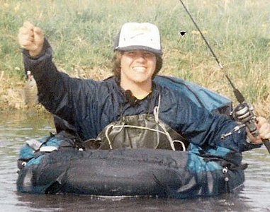 Fishing with my belly boat in Ohio, sweet hair.