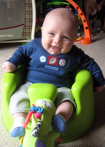 Zach in his Bumbo seat