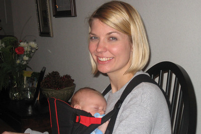 Aunt Holly carrying little Zach in the front pack