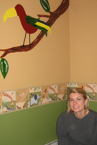 Aunt Holly touching up Zach's room - thanks!!!