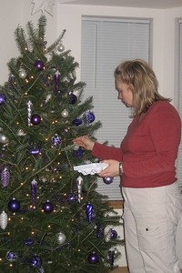 Heidi putting the finishing touches on the tree