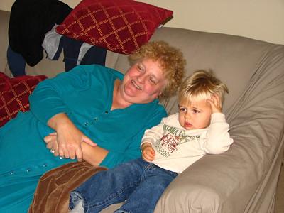 zach and grandma watching Thomas the Tank Train
