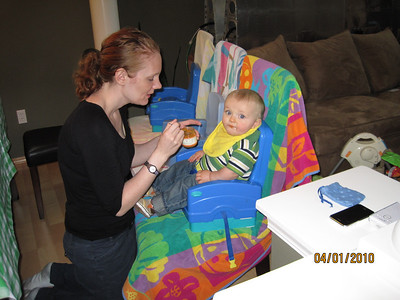 Kari feeding Sammy - enjoying the calmness of only feeding one baby at a time