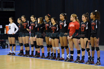 Robertson vs Sandi Prep in the Class 4A State volleyball Tournament championship game at the Rio Rancho Santa Ana Star Center Saturday, November 12, 2016. Clyde Mueller/The New Mexican