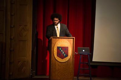 Robin DiAngelo speaks during Morning Meeting