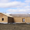 The Rafters are up.<br /> And today they were sheeting it.