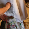 Measuring Up From the Floor for the Hem.<br /> For pinning up the hem. It was easier for Kathy to have her stand on a round stepstool so the dress would hang down around it. And also so she would be up higher than down on the floor.