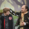 Adam Tomkins of Connecticut volunteers with the character of Shakespeare at Robin Hoods Faire in Lancaster on Saturday.  SENTINEL & ENTERPRISE JEFF PORTER