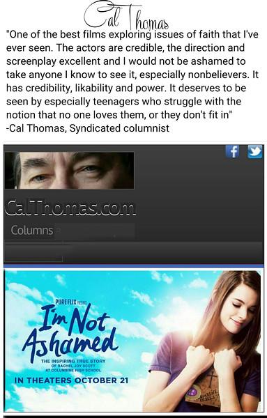 Cal Thomas Movie Review I'm Not Ashamed