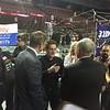 Dean Kamen talking to teams in the pits.