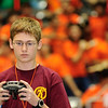 "One of the drivers for the Dripping Springs Middle School ""Tiger Robotics"" team concentrates hard during a match at the 2011 BEST Robotics Texas/New Mexico Regional competition at Garland ISD Special Events Center."
