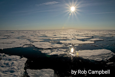 Midnight sun, Arctic Ocean.