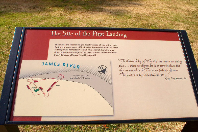 "The first landing on Jamestown Island was between the last ""R"" in James River above and the ""N"" in the compass.  The river has eroded a portion of the island as shown by the grayed area in the dotted lines."