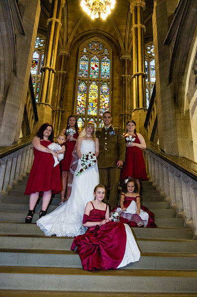 Bridal party on the Grand Staircase in Rochdale Town Hall.