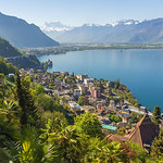 View from train above Montreux and Chillon castle,léman lake -SUISSE