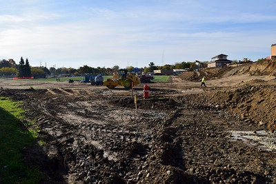 The football field and bleachers under construction at Rochester High School at 180 Livernois Road, Rochester, on Wednesday, Oct. 31.