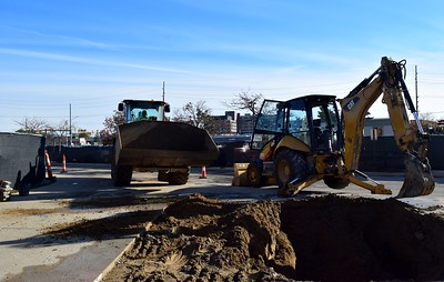 Construction workers outside of Rochester High School at 180 Livernois Road, Rochester, on Wednesday, Oct. 31.