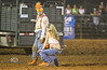 Dance Off in the Arena between Scooter the Clown and a Cowgirl - Rock Bottom Rodeo - Photo by Pat Bonish