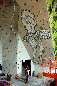 Mural by Corbin Hillam at City Rock Climbing Gym
