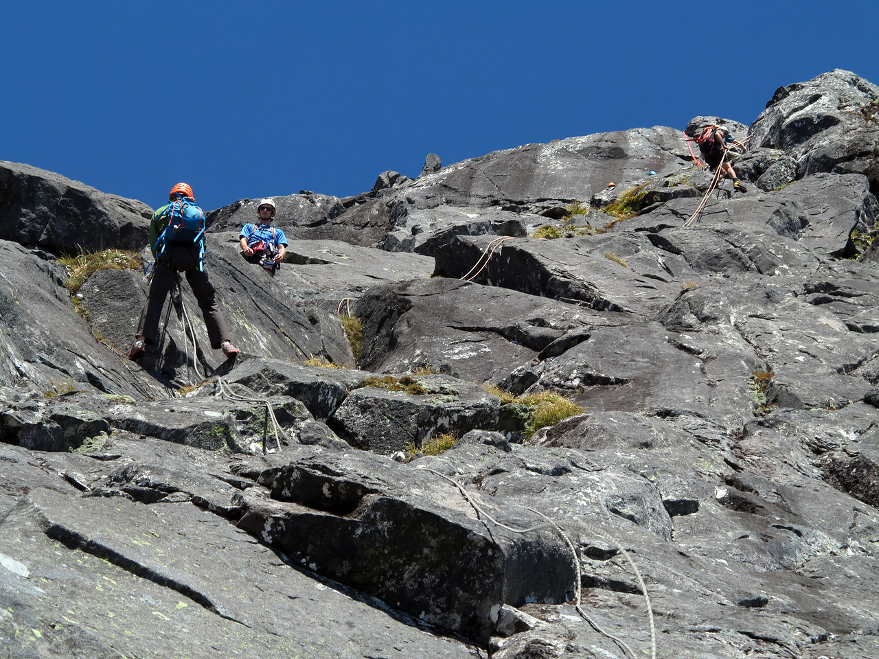 Abseil frenzy down the north ridge of Moirs Mate
