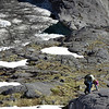 Shelagh climbing above Black Lake