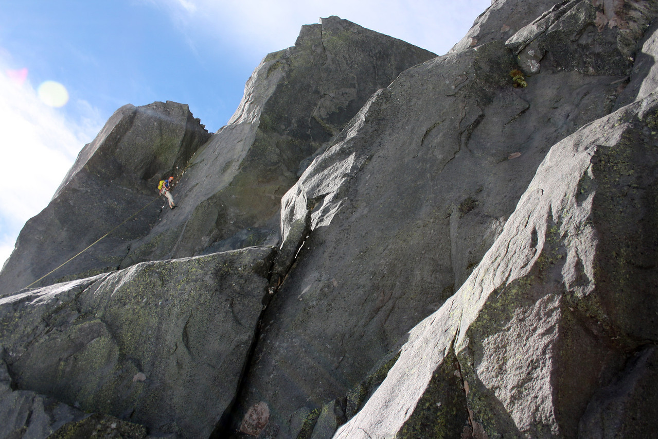 Abseiling past the soon-to-be trad route 'Sexual Harassment Panda'