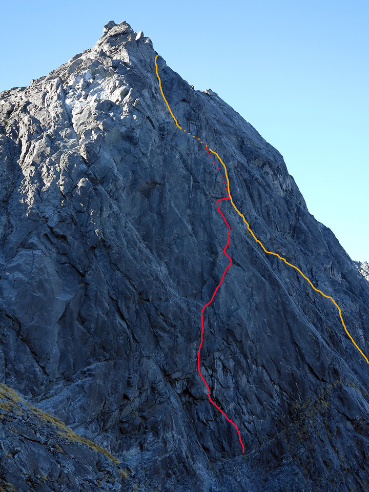 Garden Trowel Route in red, Bowen-Allan Corner in yellow. The routes stay seperate in the dashed bit, but are hidden from view.