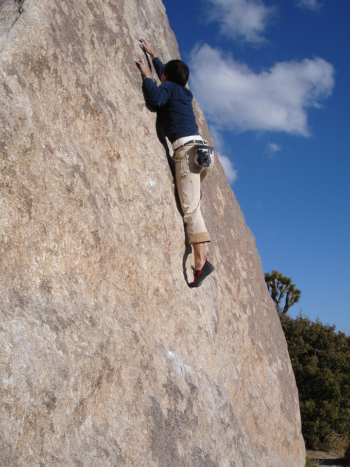 Real Hidden Valley. Marty bouldering on Wedge Boulder, Turtle Face Center.