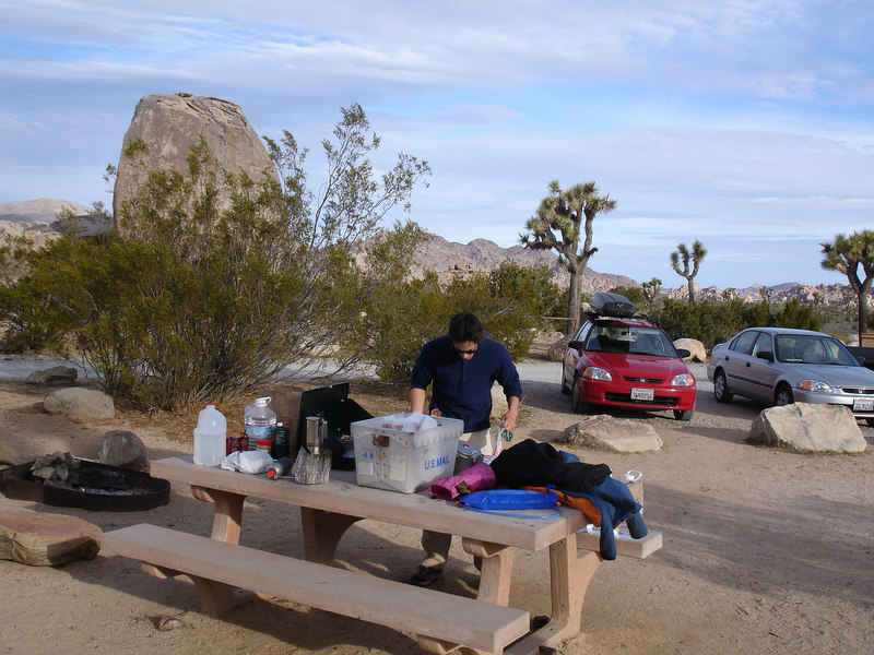 Ryan Campground. Marty orgainzing for breakfast.