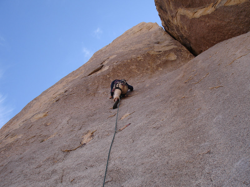 Marty leading Run For Your Life (5.10b), Real Hidden Valley, Tumbling Rainbow Formation.