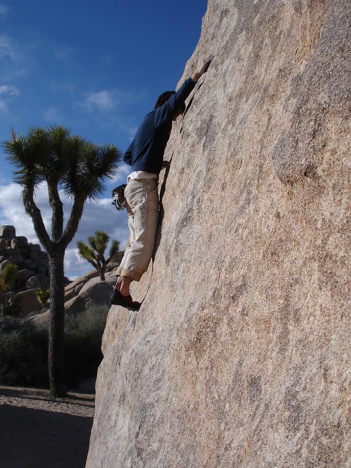 Real Hidden Valley. Marty bouldering on Wedge Boulder, Turtle Face Left.
