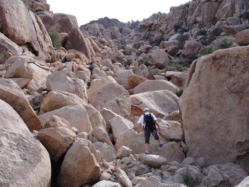 Rick boulder hops his way up Dodge City Canyon to Black Tower.