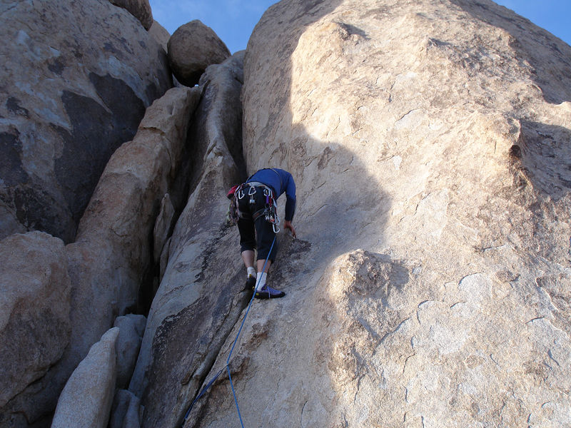 Jim leading Lucky Lady (5.8): Real Hidden Valley, Houser Buttress.