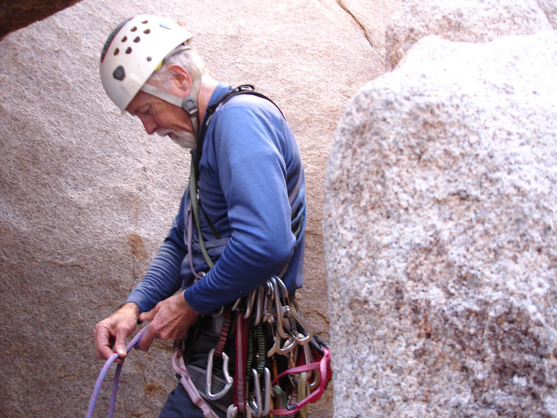 Jim tieing-in before leading Buissonier (5.7): Hidden Valley Campground, The Blob - East Face.