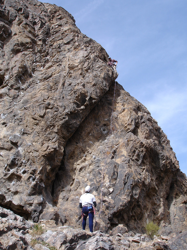 Joe belaying, Brian leading.
