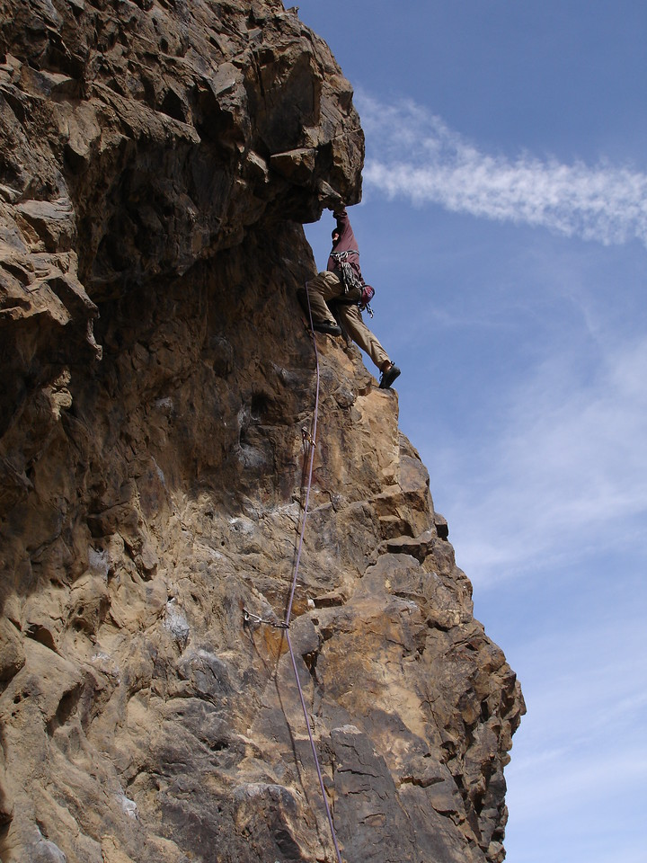 Brian on the first lead of the day (5.9).